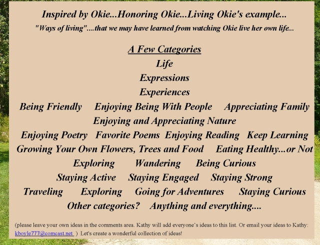 Okie Honoring Okie categories about living life